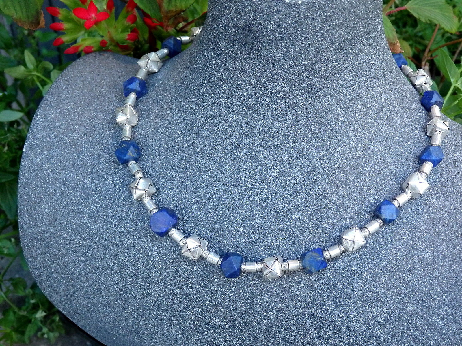 Designer Kette Silber 925 Lapis Lazuli Würfel gefaltet