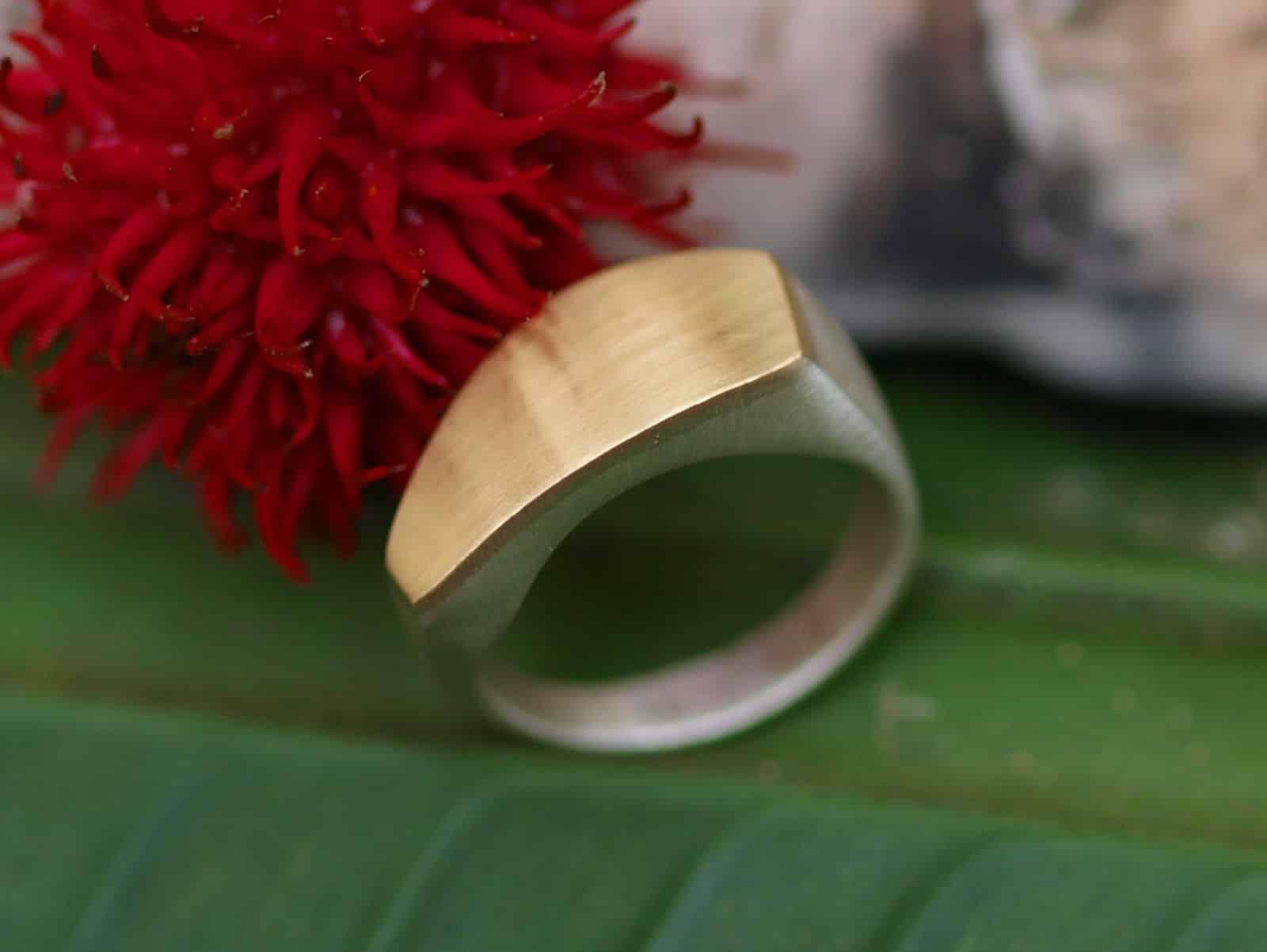 Designer Ring Silber 925 Gold 750 Fläche geschwungen matt