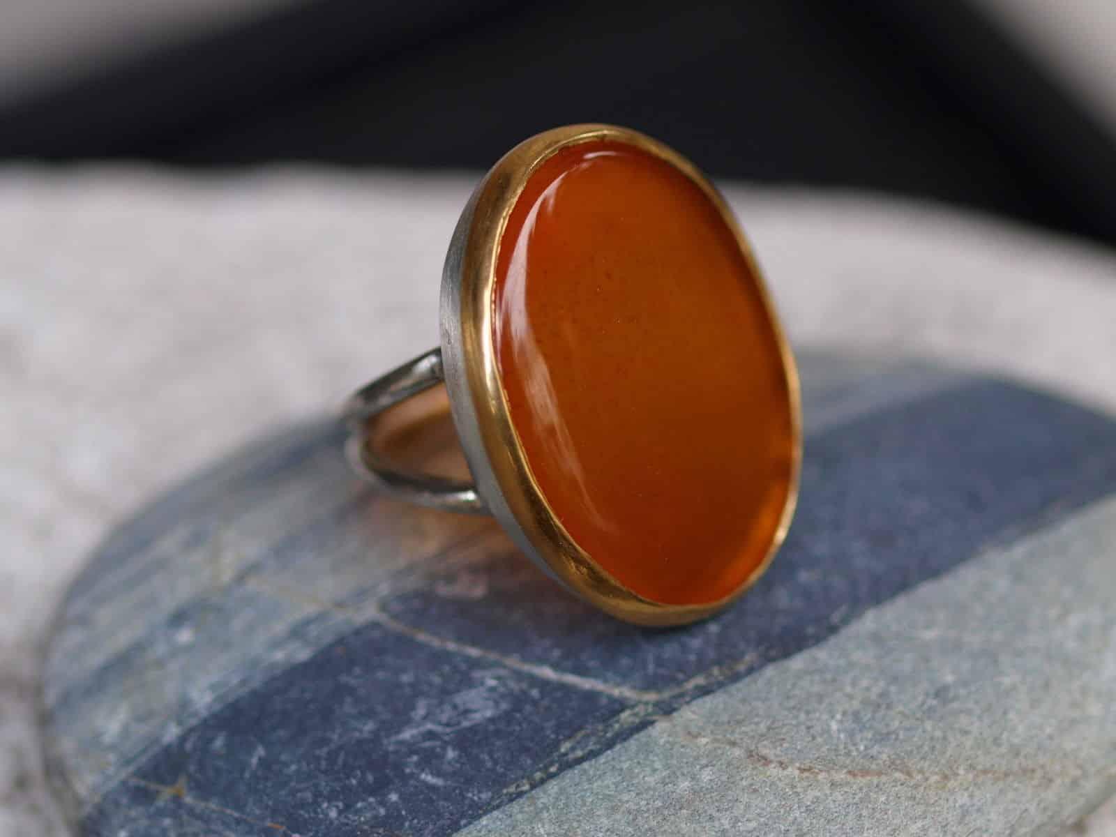 Designer Ring Silber 925 Gold 900 Karneol Carneol Unikat