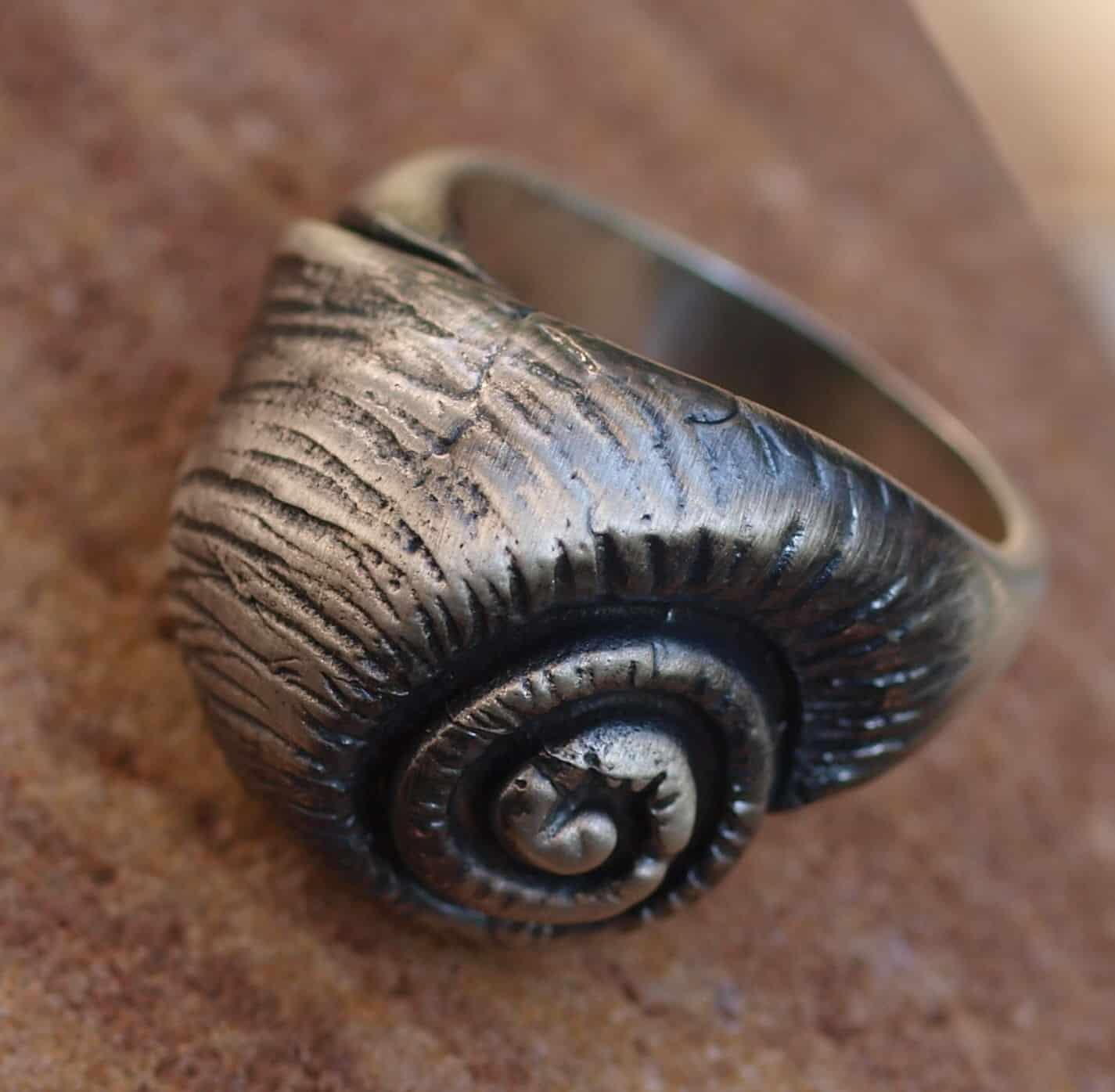 Designer Ring Silber 925 Schnecke Schneckenhaus Muschel geschwärzt