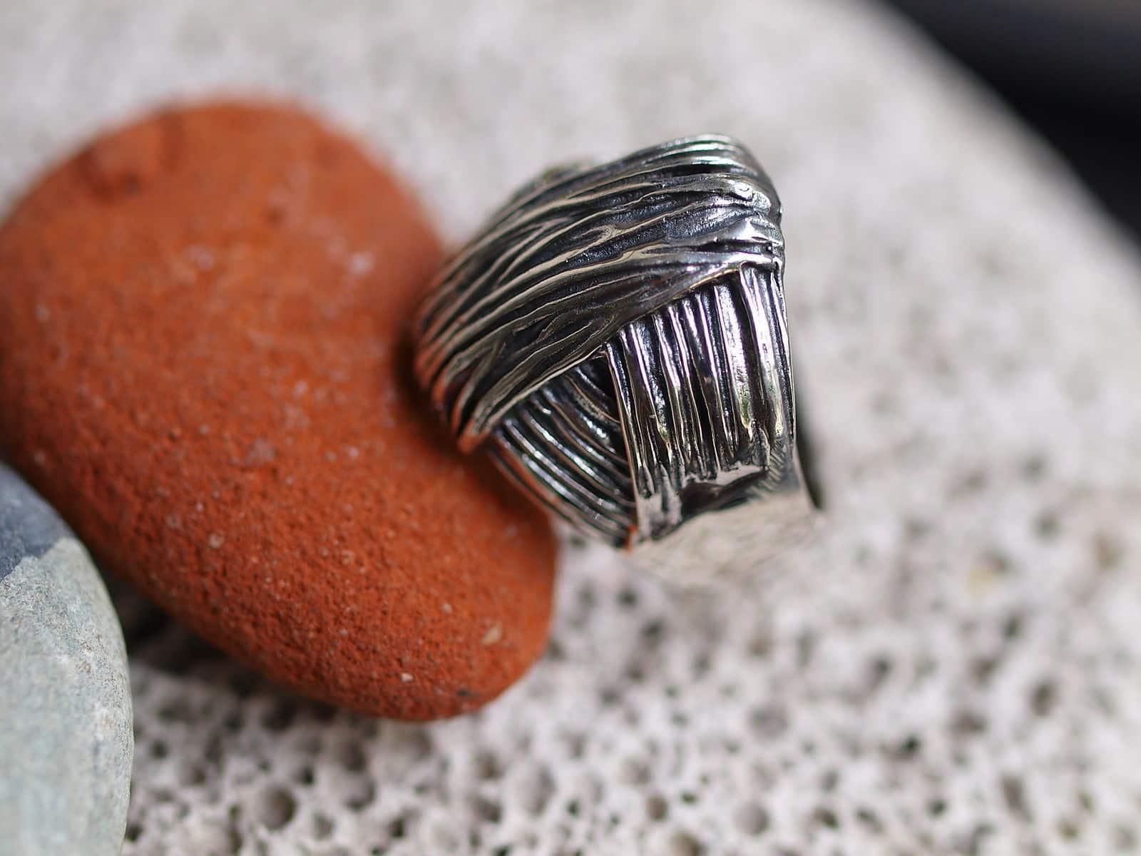 Designer Ring Silber 925 gefaltet tlw. geschwärzt