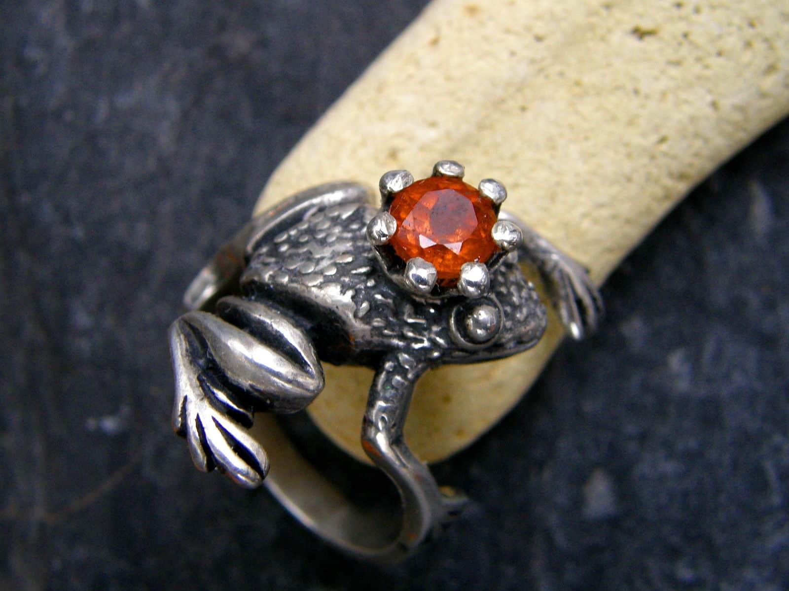 Froschkönig Frosch Ring Silber 925 Granat Hessonit 60,5