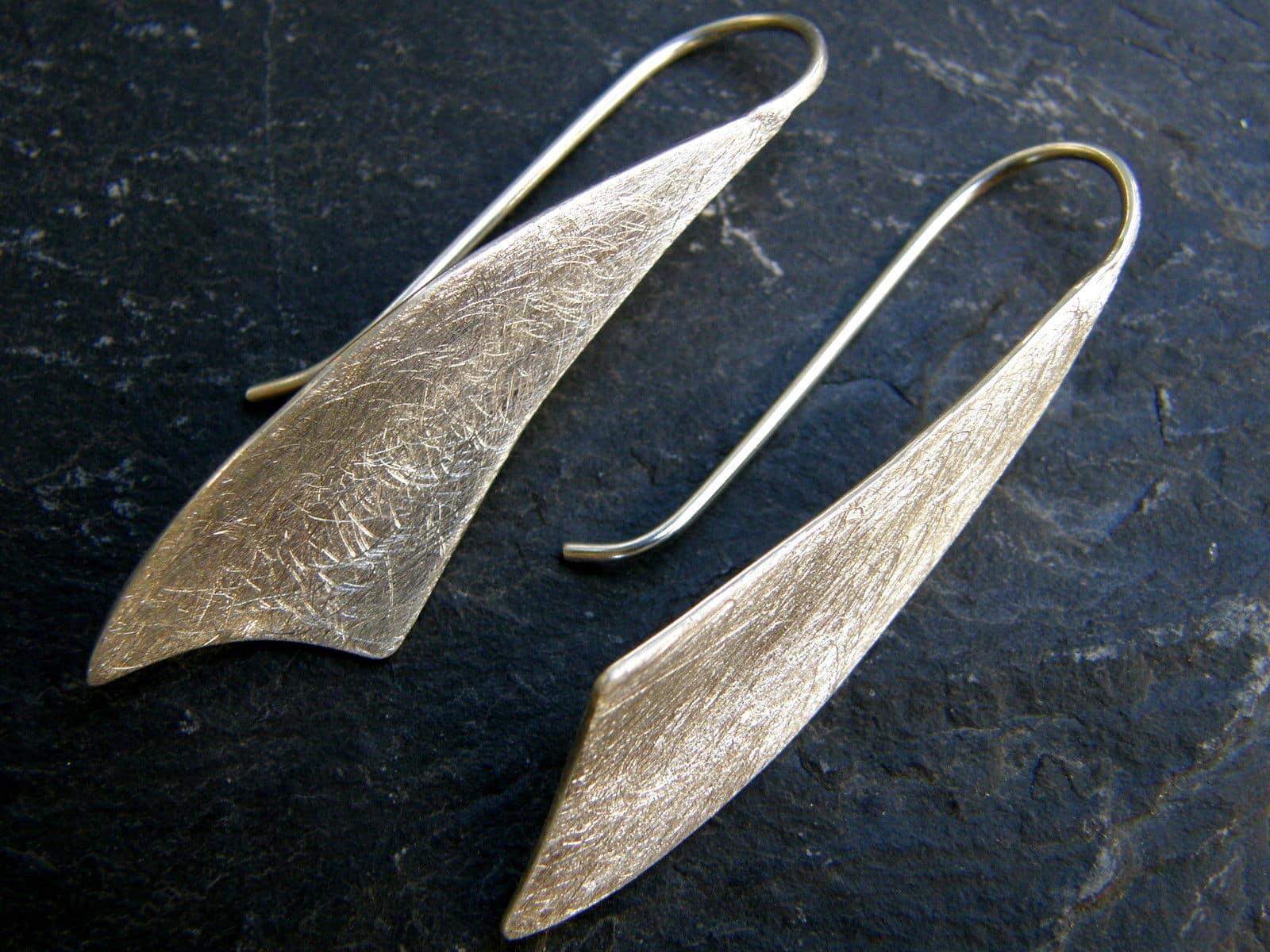 Ohrschmuck Ohrringe Ohrhänger Silber 925 Segelform eismattiert matt