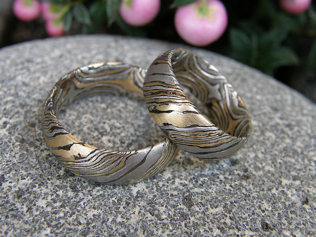 Trauringe Mokume Gane Gold 900 Palladium 500 Silber 925 geätzt