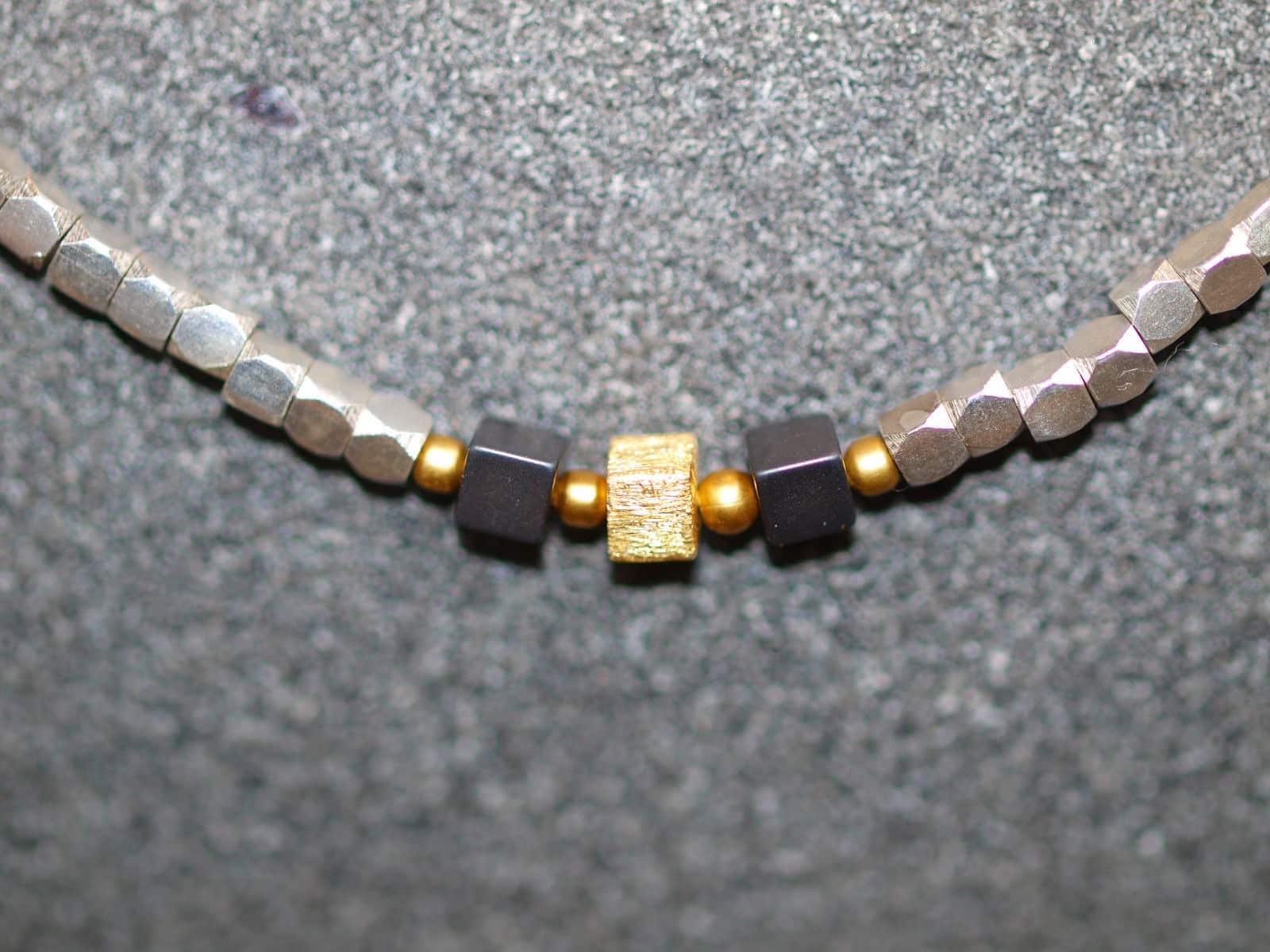 Unikat Kette Silber 925 tlw vergoldet Hämatit