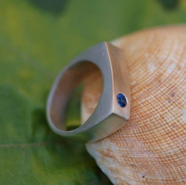 Unikat Ring Silber 925 Gold 750 Saphir blau 53