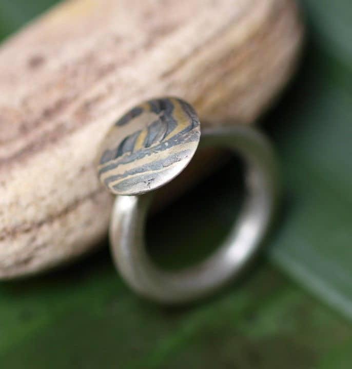 Unikat Ring Silber 925 mit Mokume Gane Gold 900 Palladium 500 runde Schiene 51