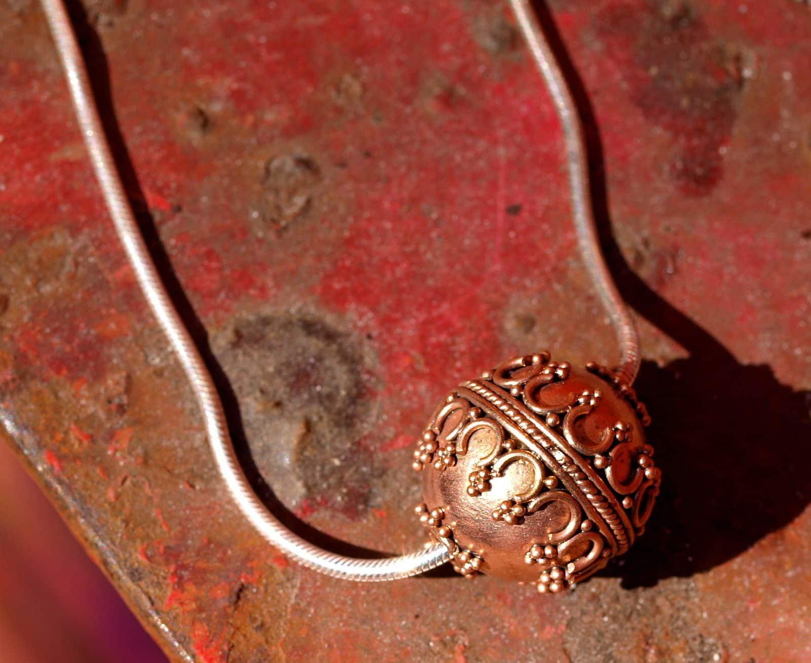 Designer Kette Silber 925 teilweise granulierte Kugel Rotgold vergoldet