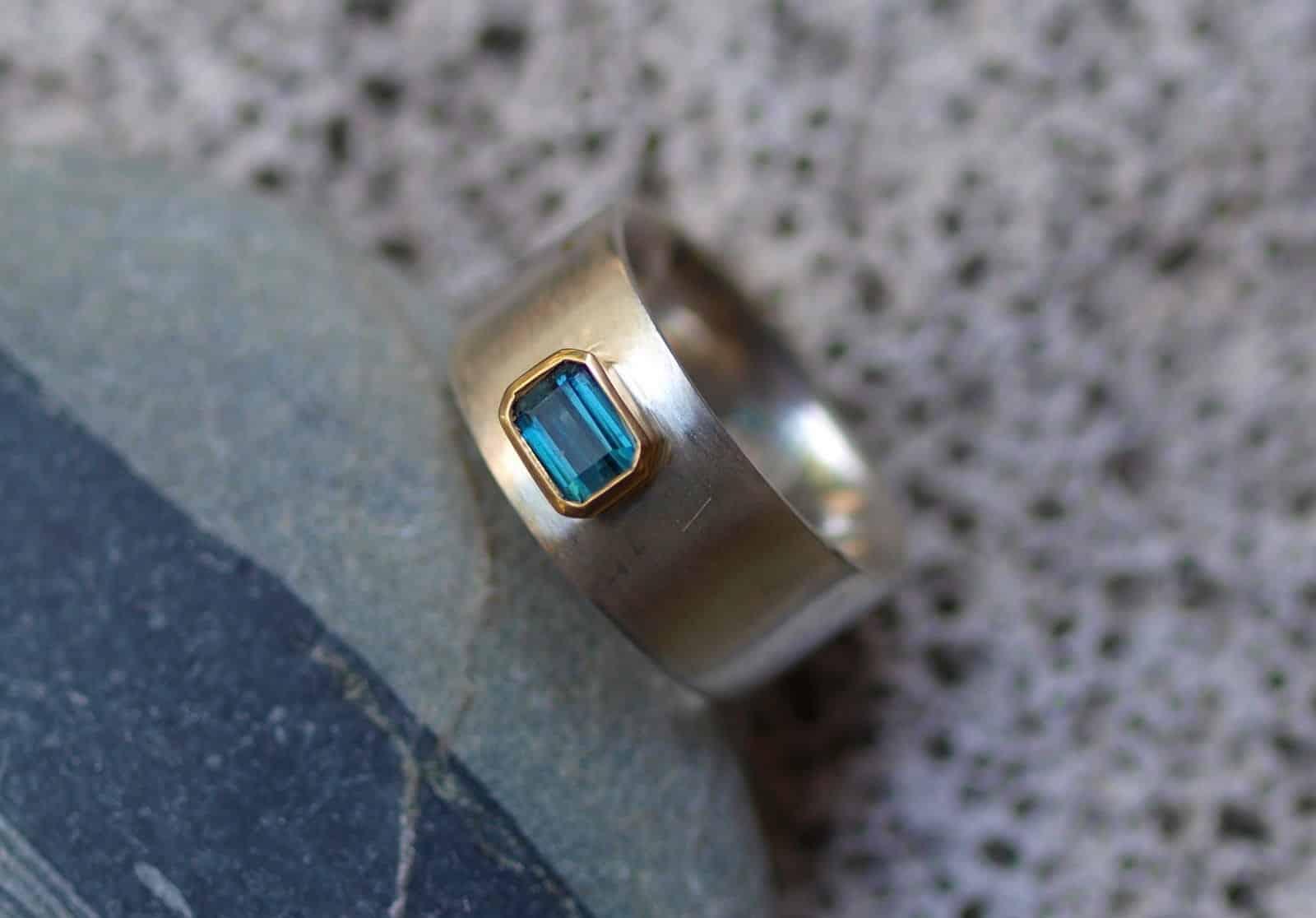Designer Ring Silber 925 Gold 750 Turmalin Indigolith 0,7 ct blau grün Unikat