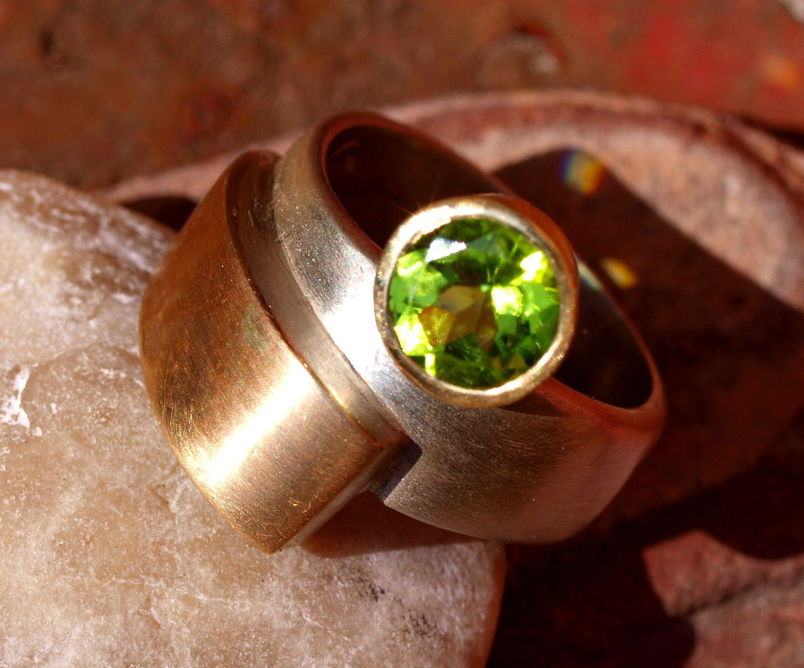 Designer Ring Silber 925 Gold 750 geschwungen Peridot Olivin Unikat