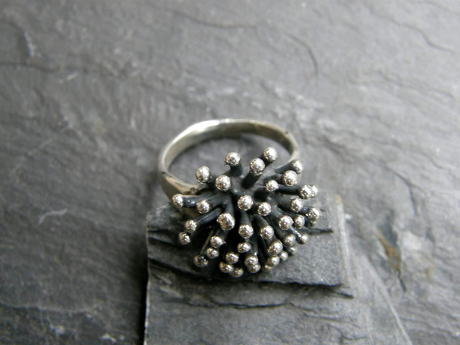 Designer Ring Silber 925 Igel Stachelring