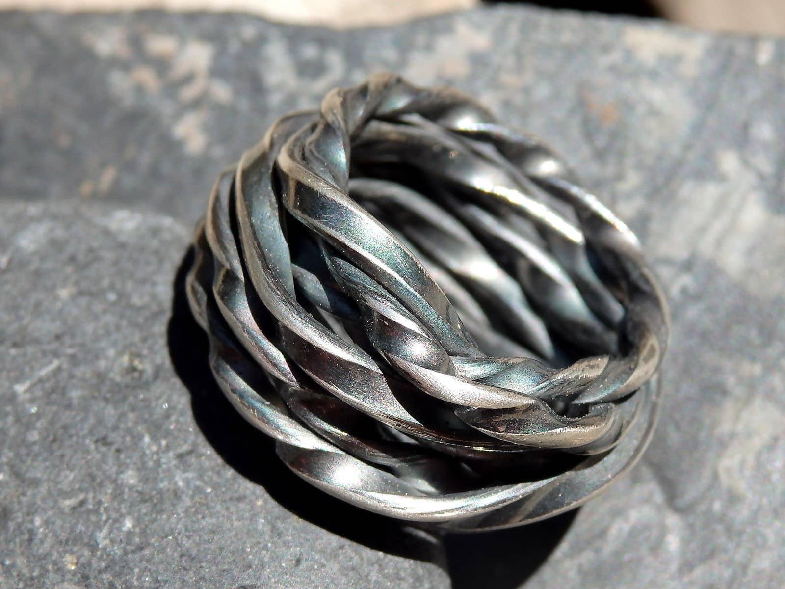 Designer Ring Silber 925 gewickelt matt geschwärzt Unikat 57,5