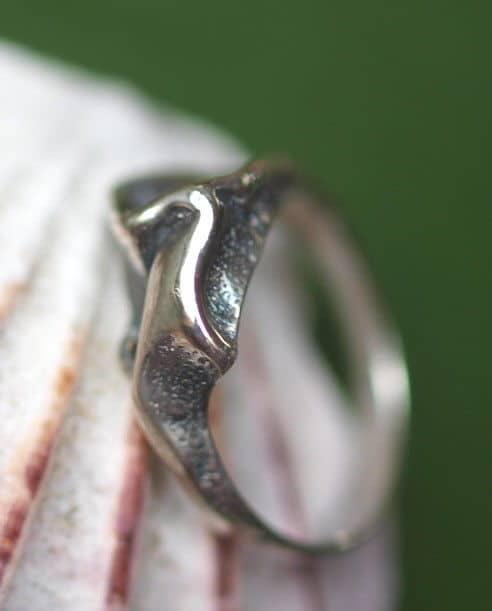 Designer Ring Silber 925 organische Form gefaltet geschwärzt 52