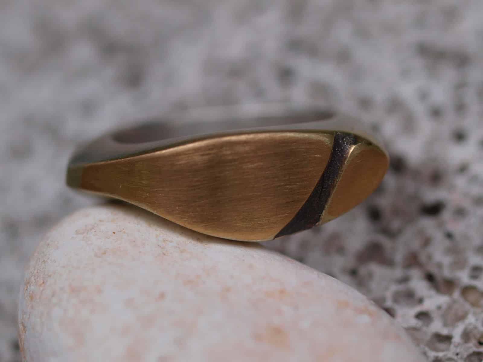 Designer Ring Silber925 Gold 750 Kontur geschwärzt Unikat