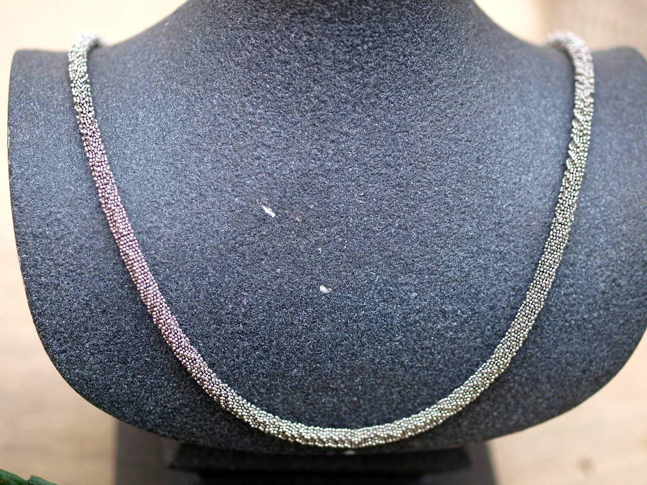 Leguan Kette Silber 925 Unikat lang 70 cm granuliert