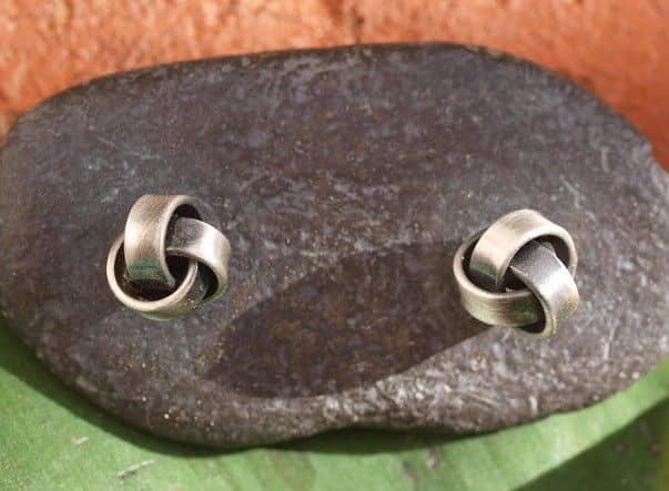 Ohrstecker Silber 925 verknotet gefaltet Knoten Wirbel Blüte geschwärzt