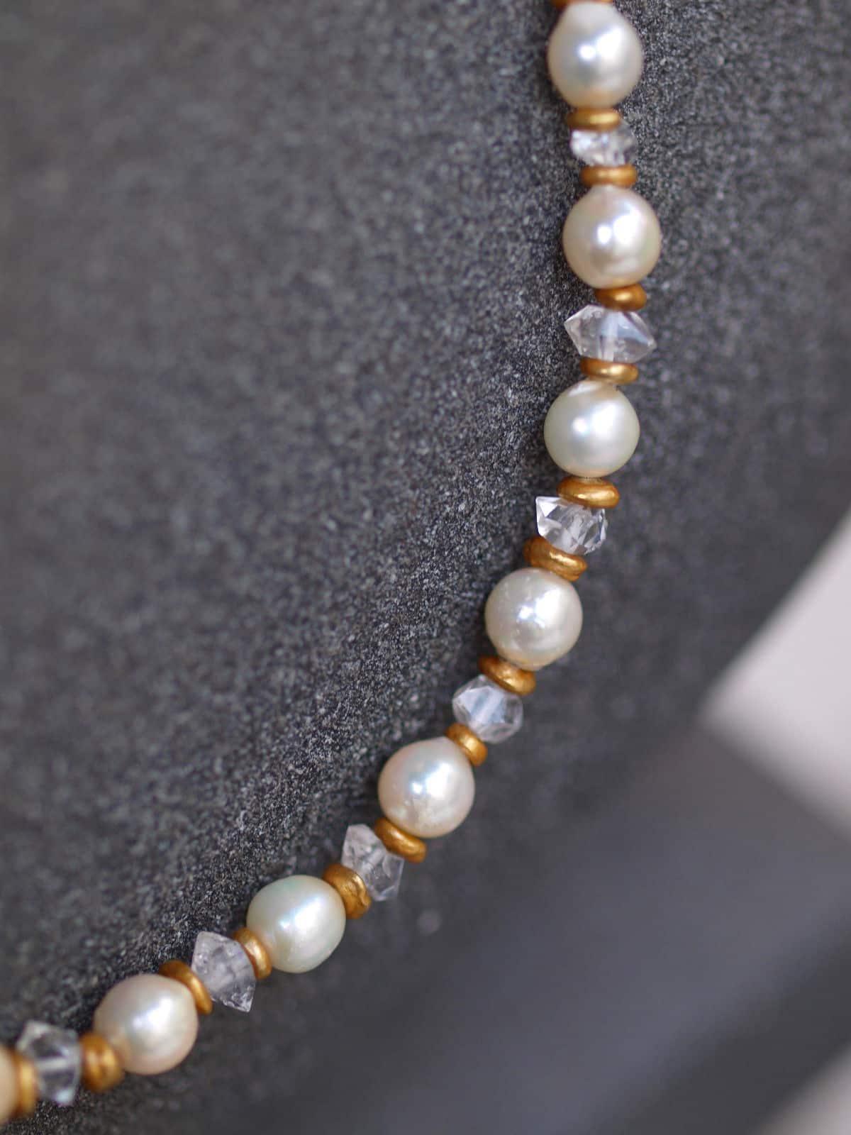 Unikat Kette Silber 925 vergoldet Bergkristall Diamondquarz Akoya Perle