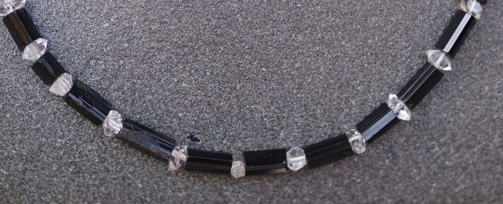 Unikat Kette Silber 925 vergoldet Bergkristall Diamondquarz schwarzer Turmalin