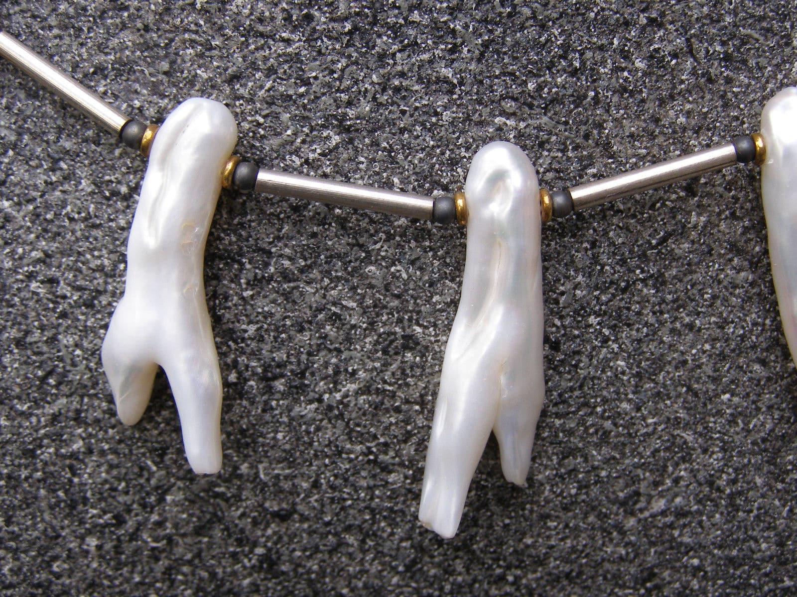 Unikat Kette Silber tlw vergoldet Hämatit  Zuchtperlen