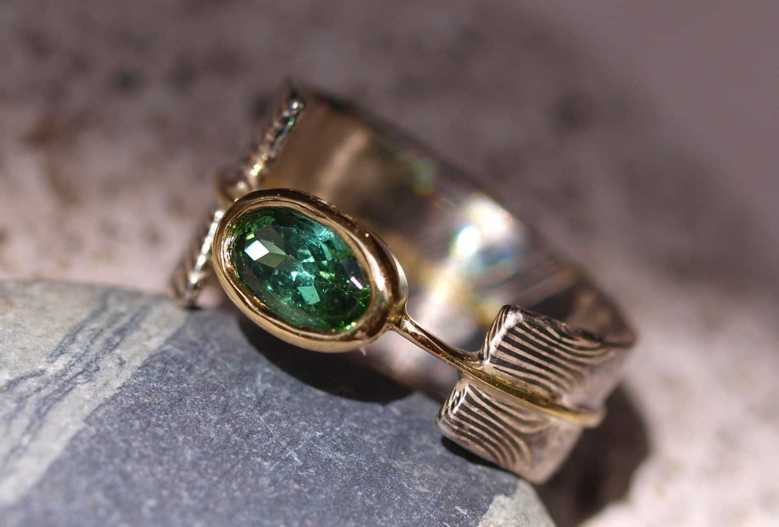 Unikat Ring Mokume gane Gold 900 Silber 925 Palladium 500 Turmalin Sternmuster
