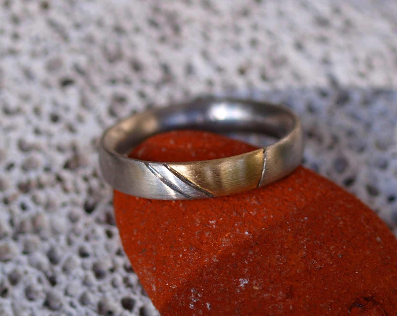 Unikat Ring Platin 950 Gold 750 Kontur geschwärzt