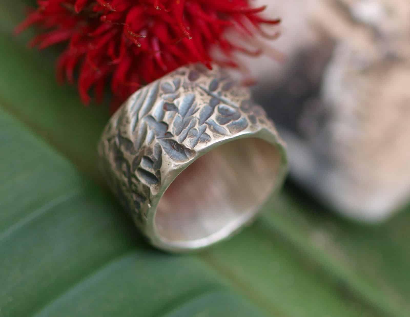 Unikat Ring Silber 925 grob geschmiedet mit Strukturen breit