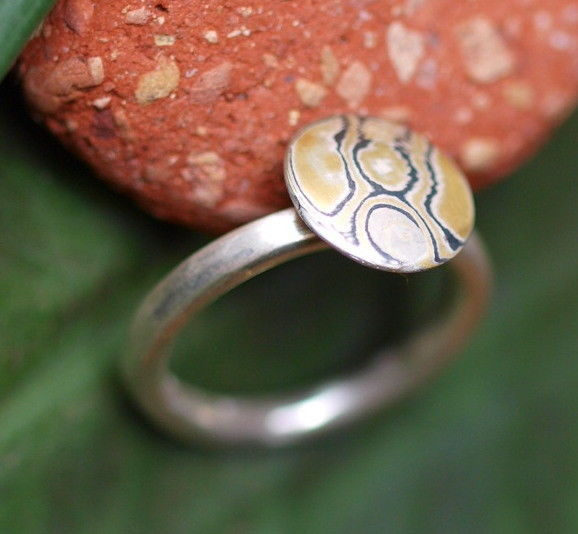Unikat Ring Silber 925 mit Mokume Gane Gold 900 Palladium 500 runde Schiene 55